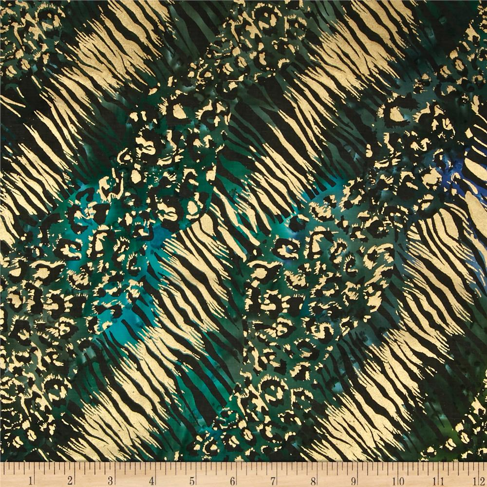 Indian Batik Urban Ethnic Animal Skin Metallic Blue/Green