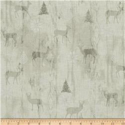 Cozy Cabin Christmas Wood Texture Metallic Grey