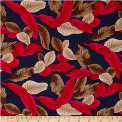 Rayon Challis Dreamer Tropical Leaf on Navy