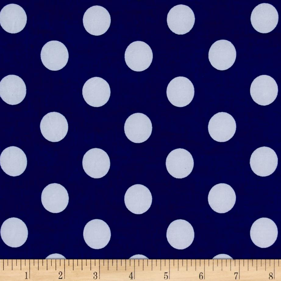 Stretch ITY Jersey Knit Dot Royal and White