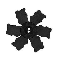 2.25'' Leather Button Flower Black