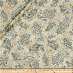 Kaufman La Scala 7 Metallic Large Paisley Natural