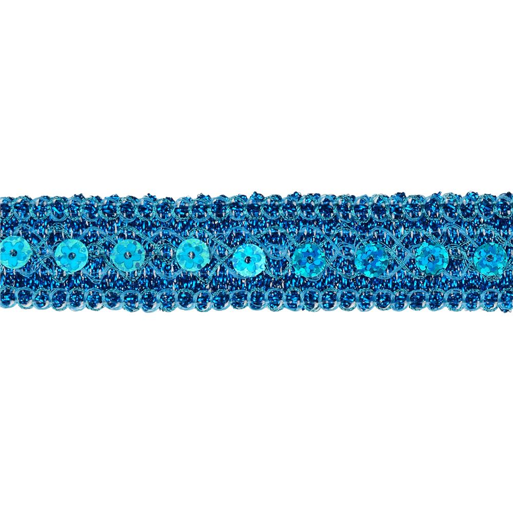 "3/4"" Adriana Metallic Sequin Braid Trim Roll Turquoise"