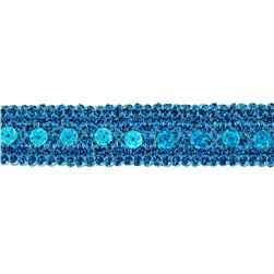 3/4'' Adriana Metallic Sequin Braid Trim Roll Turquoise