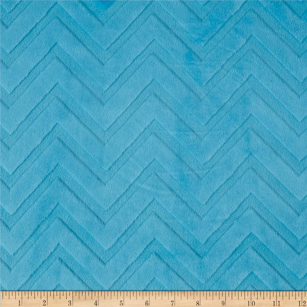 Shannon Minky Cuddle Embossed Chevron Turquoise