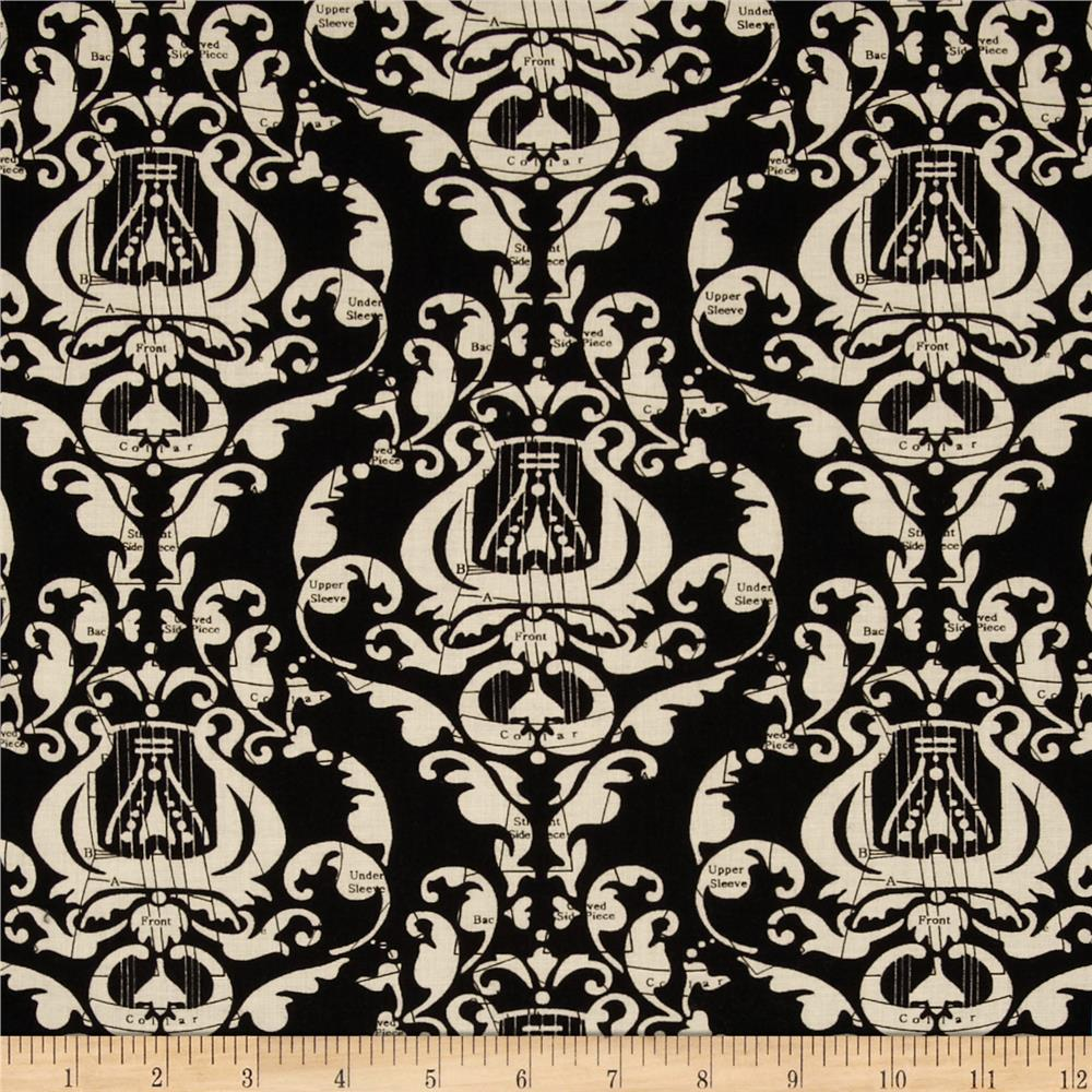 Angel Band Picture Damask Black