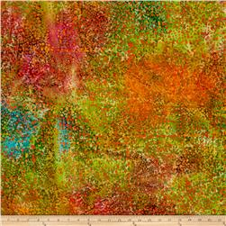 Indian Batik Cascades Dots Orange/Green Multi