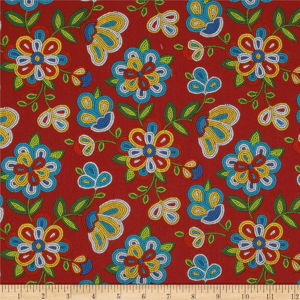 Tucson Beaded Floral Red