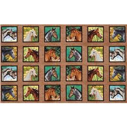 Wild Wings Endless Summer Horse Head Panel Blocks Brown