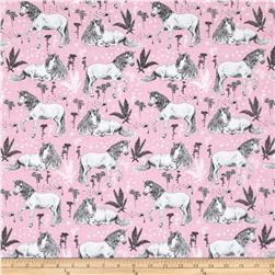 Timeless Treasures Sketched Unicorns Pink