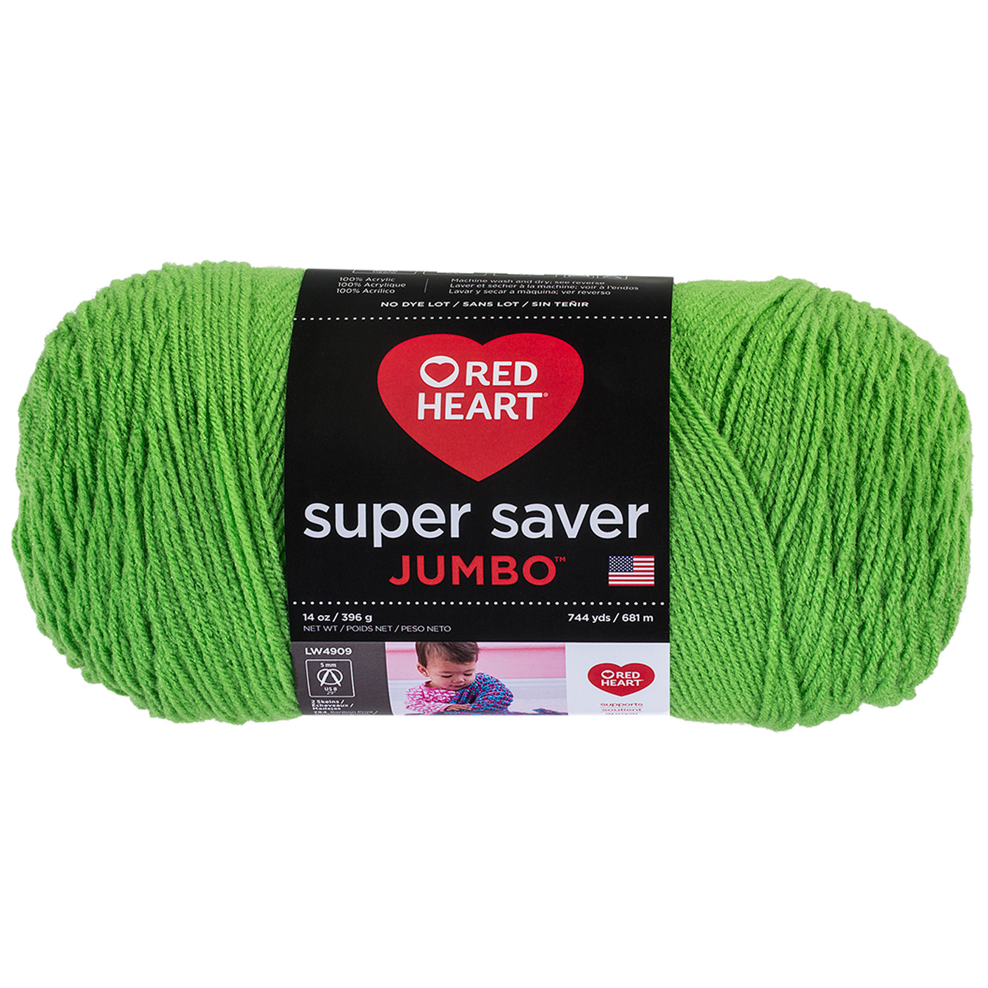 Red Heart Super Saver Jumbo Spring Green by Coats & Clark in USA