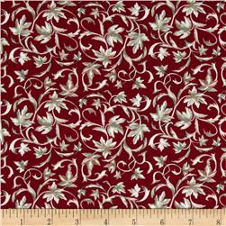 Wine Country Leaf Scroll Red