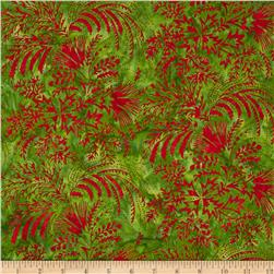Bali Batiks Handpaints Mixed Leaves Strawberry