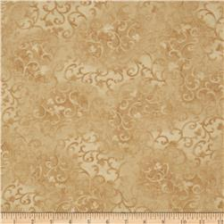 "108"" Wide Essentials Flannel Quilt Backing Scroll Dark Creme"