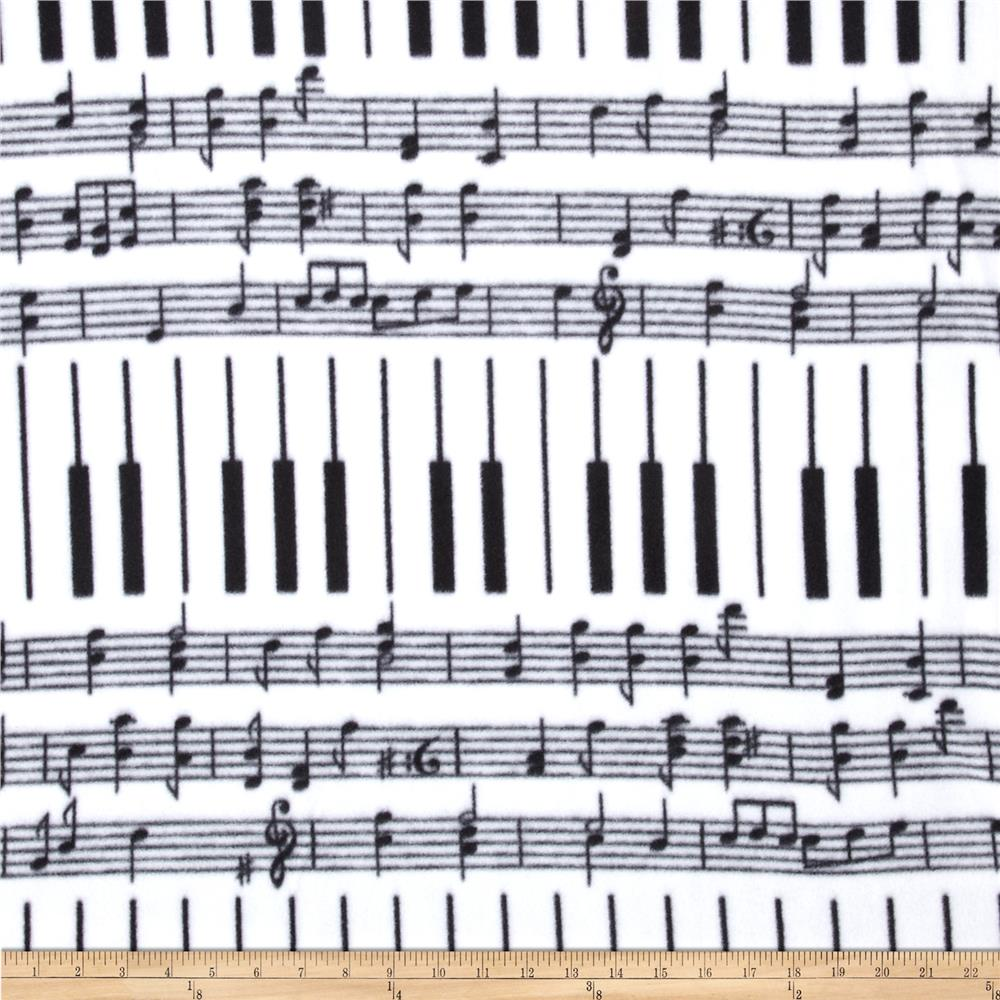 Winterfleece Piano Keys White/Black Fabric