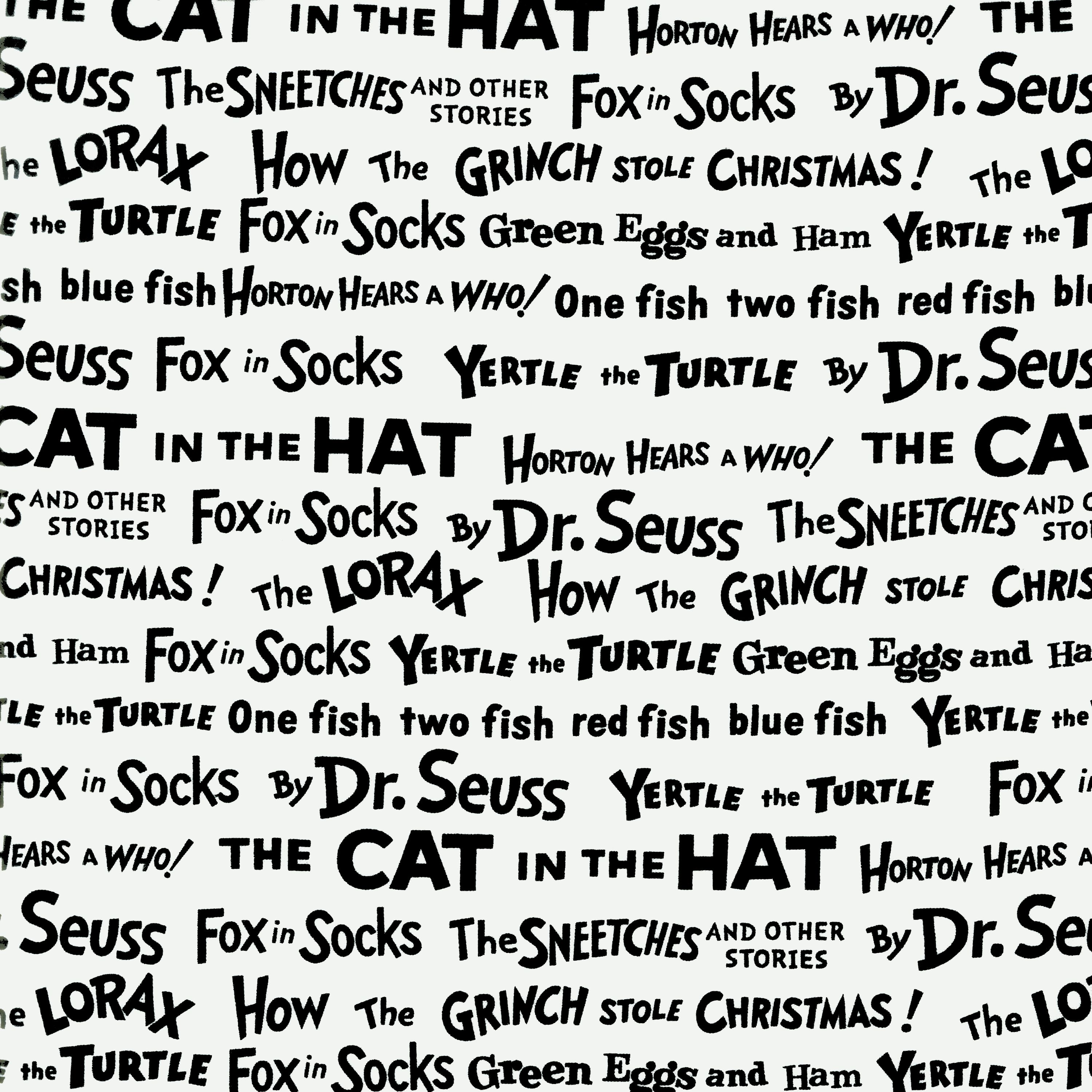 Celebrate Seuss! Book Titles White/Black