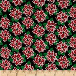 Reindeer Forest Poinsettias Black