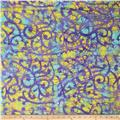 Indian Batik Cascades Large Scroll Purple/Aqua/Yellow