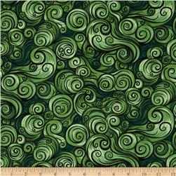 Nite Owls Swirls Green Fabric