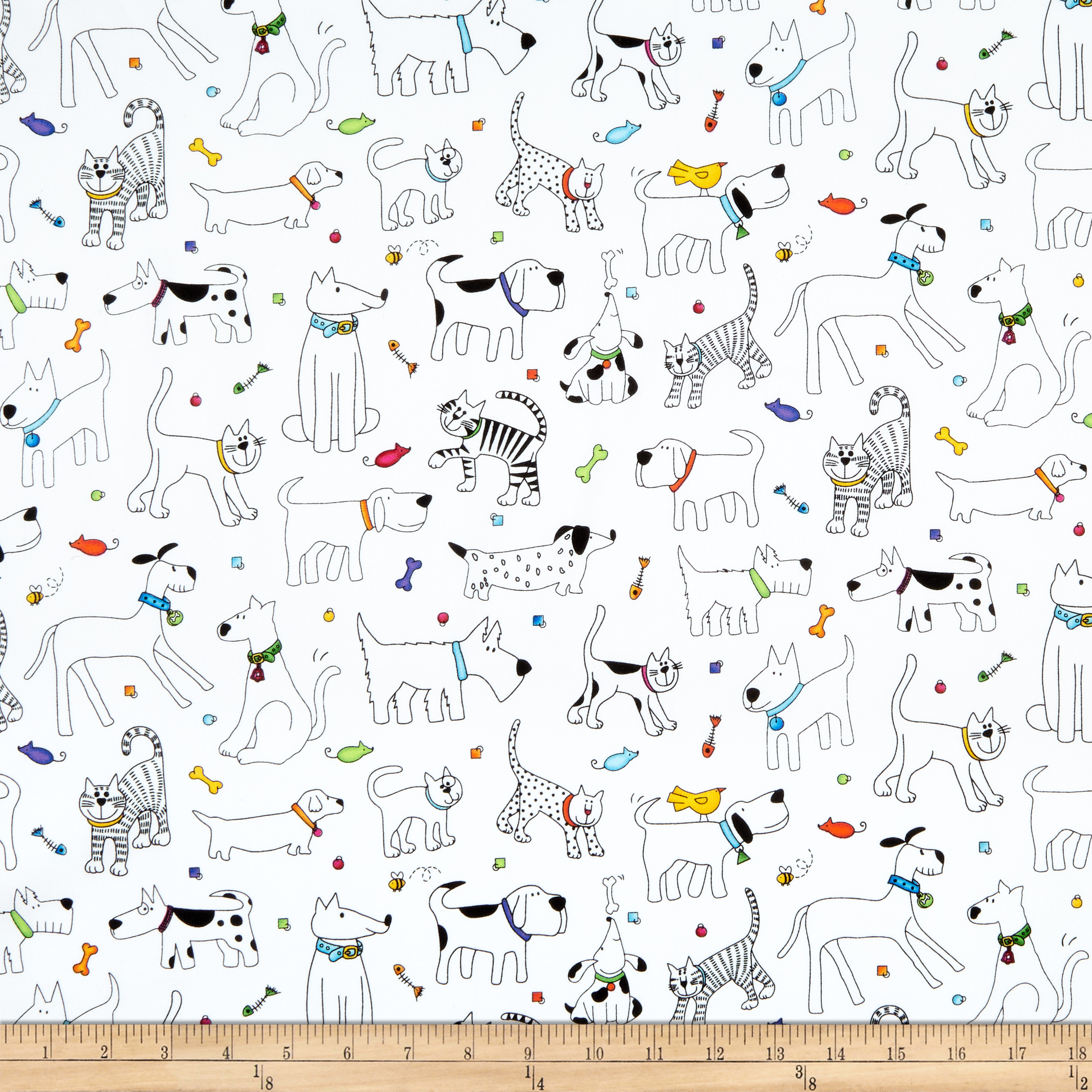 INOpets.com Anything for Pets Parents & Their Pets Epic Woof N' Whiskers Pets Toss White Fabric