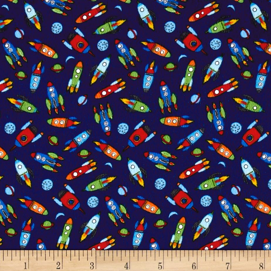 Timeless Treasures Flannel Mini Rockets Navy Fabric