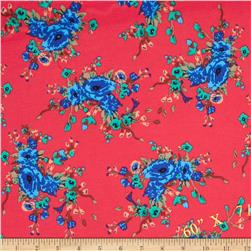 Stretch Ponte de Roma Knit Florals Red-Orange/Blue