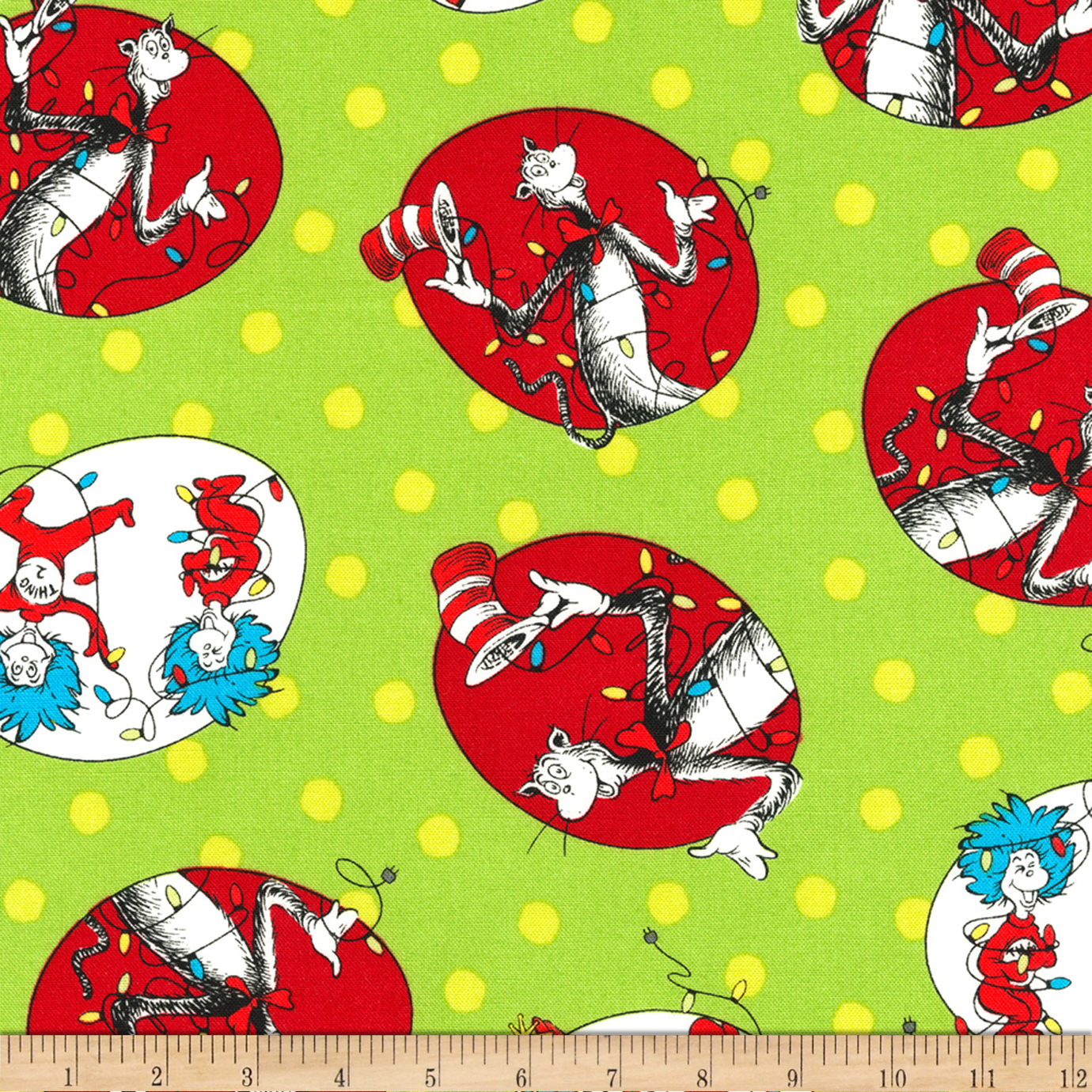 Kaufman The Cat In The Hat Christmas Circle Cats Green Fabric