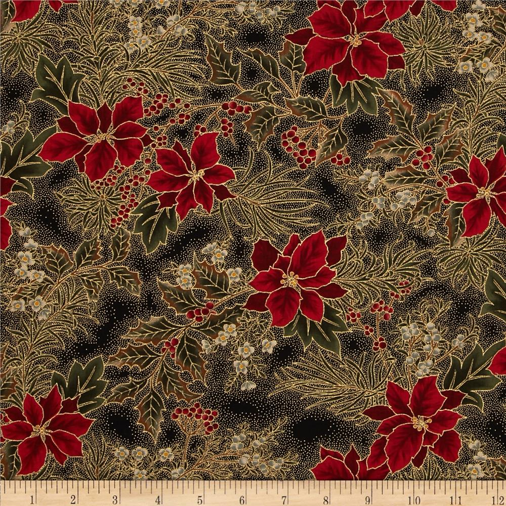 Moda Let it Glow Metallic Poinsettia & Holly Ebony