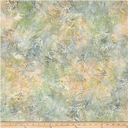 "106"" Wide Wilmington Batik Quilt Back Bamboo Leaves Ivory/Green"
