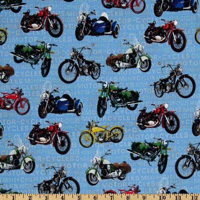 Vintage Motorcycles Toss Multi/Blue