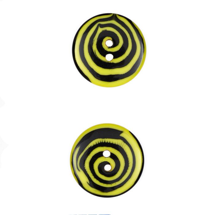 Fashion Button 7/8 Swirl Yellow/Black
