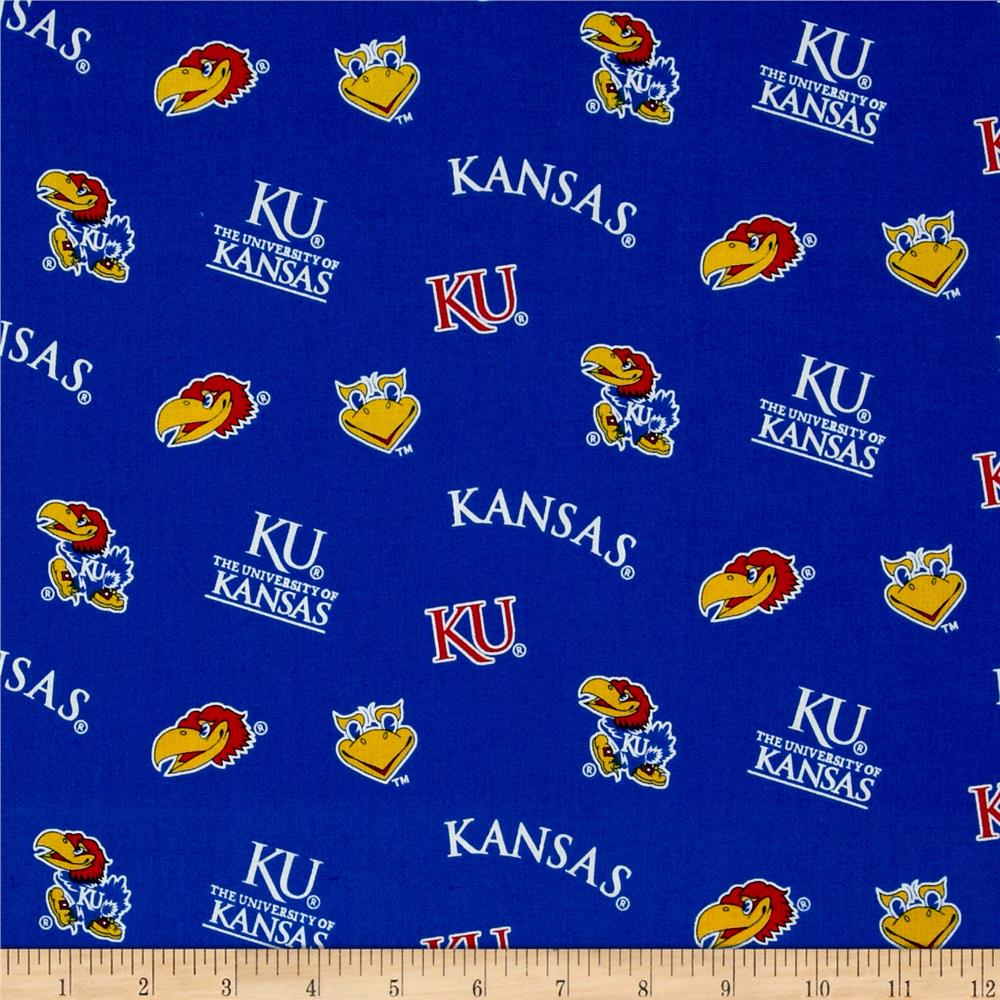 Collegiate Cotton Broadcloth University of Kansas Fabric By The Yard
