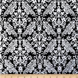 Riley Blake Hollywood Sparkle Medium Damask Black Fabric