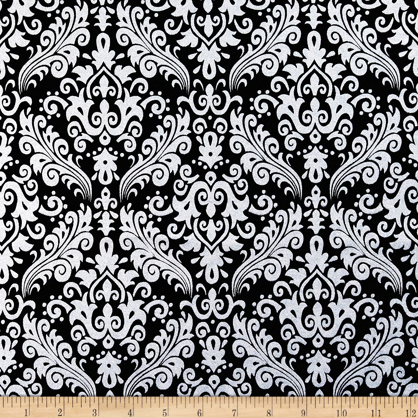 Riley Blake Hollywood Sparkle Medium Damask Black