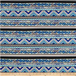 Venezia Spun Poly Jersey Knit Ethnic Stripe Blue/Cream