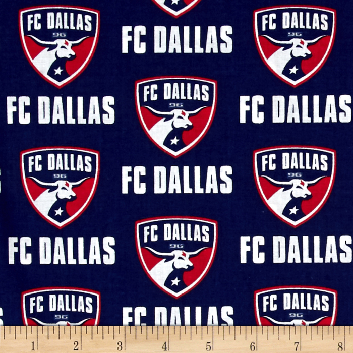MLS Cotton Broadcloth FC Dallas Navy Fabric by Fabric Traditions in USA