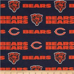 NFL Cotton Broadcloth Chicago Bears Orange/Navy Fabric