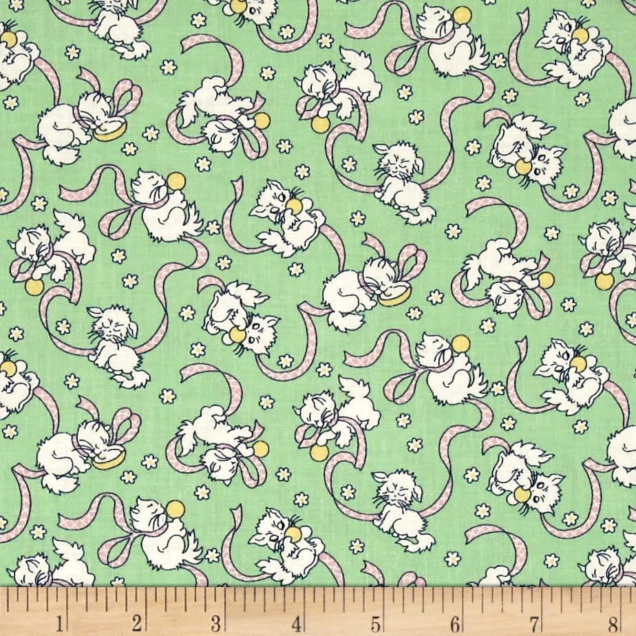 Backyard Pals Cats With Ribbons Green Fabric