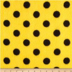 Fleece Print Polka Dots Yellow/Black Fabric