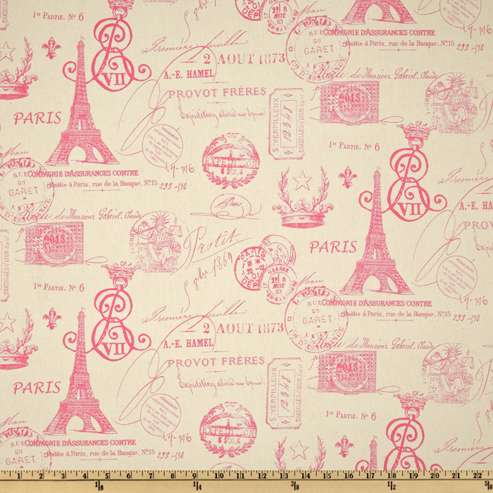 Premier Prints French Stamp Gumdrop Pink/Natural Fabric