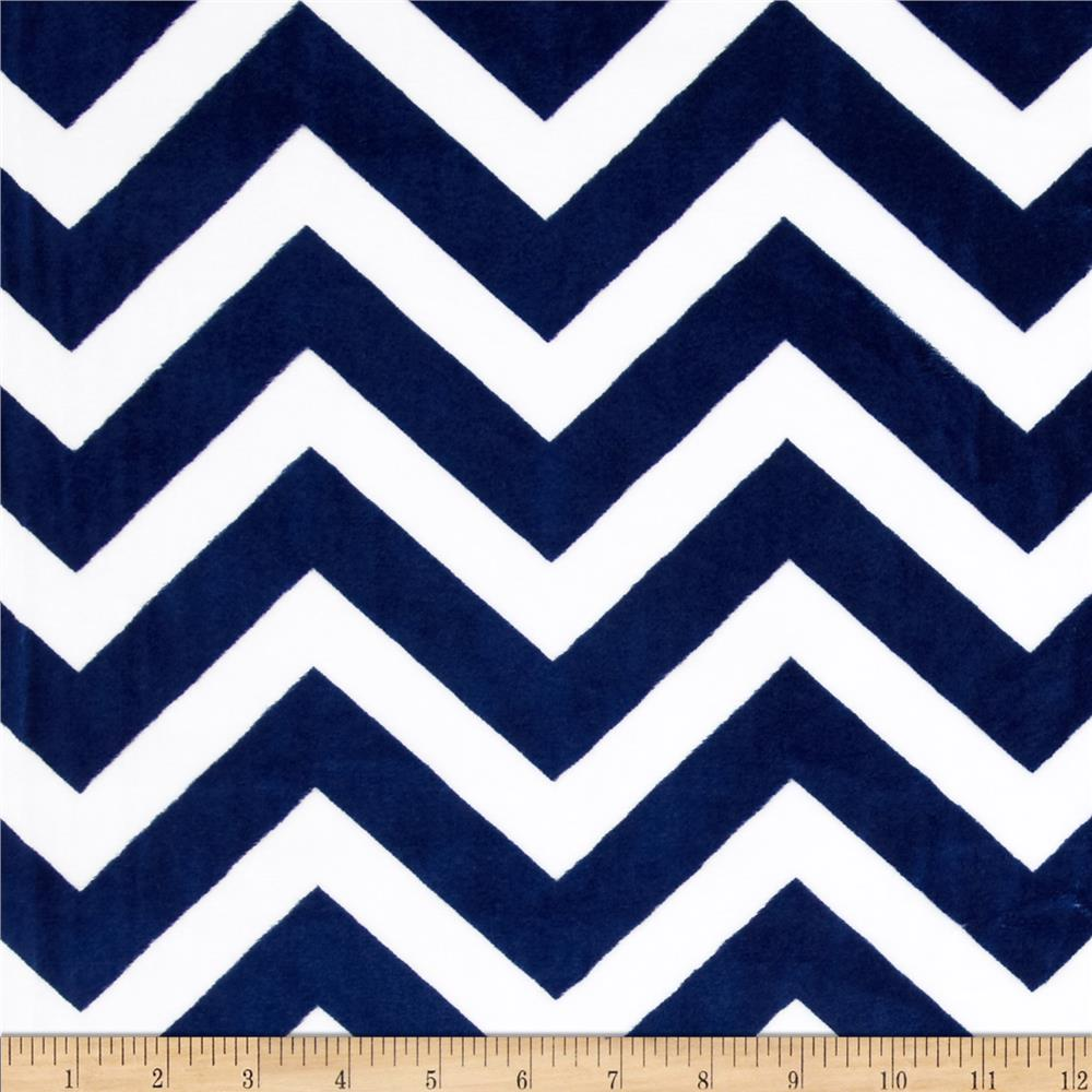 Shannon Minky Chevron Cuddle Midnight Blue/Snow