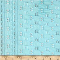 Cotton Eyelet Weave Border Light Blue
