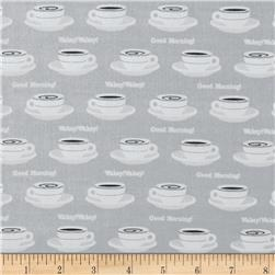 Rush Hour Coffee Cups Grey Fabric