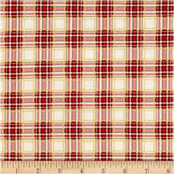 Timeless Treasures Holiday Plaids Metallic Tartan Plaid Positive Peppermint