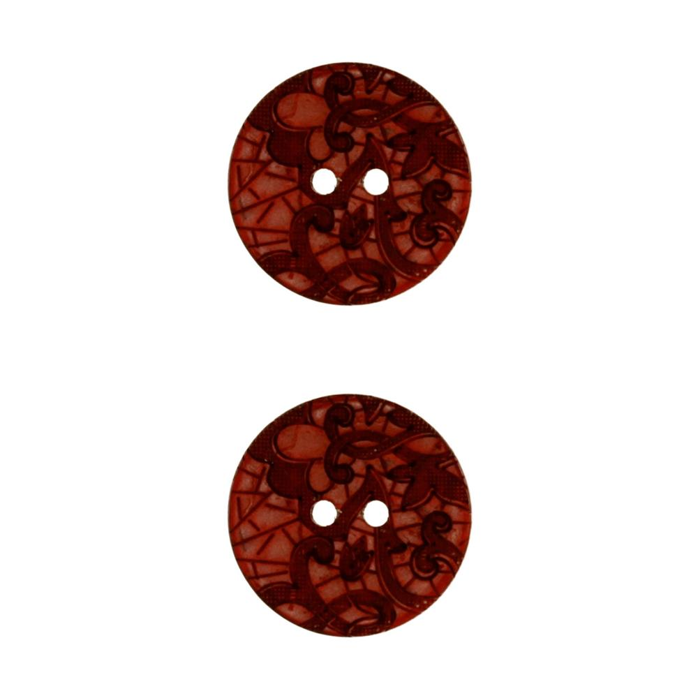 Genuine Coconut Button 7/8'' Scrolls Wine