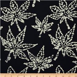 Indian Batik Oak Leaf Black/White