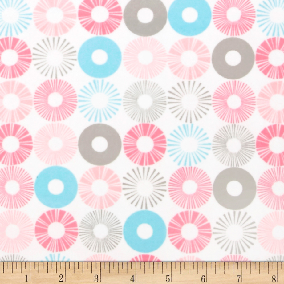 Cozy Cotton Flannel Circles Pink Fabric