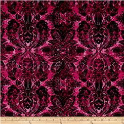 Poly Lycra Jersey Knit Damask Fuchsia/Black