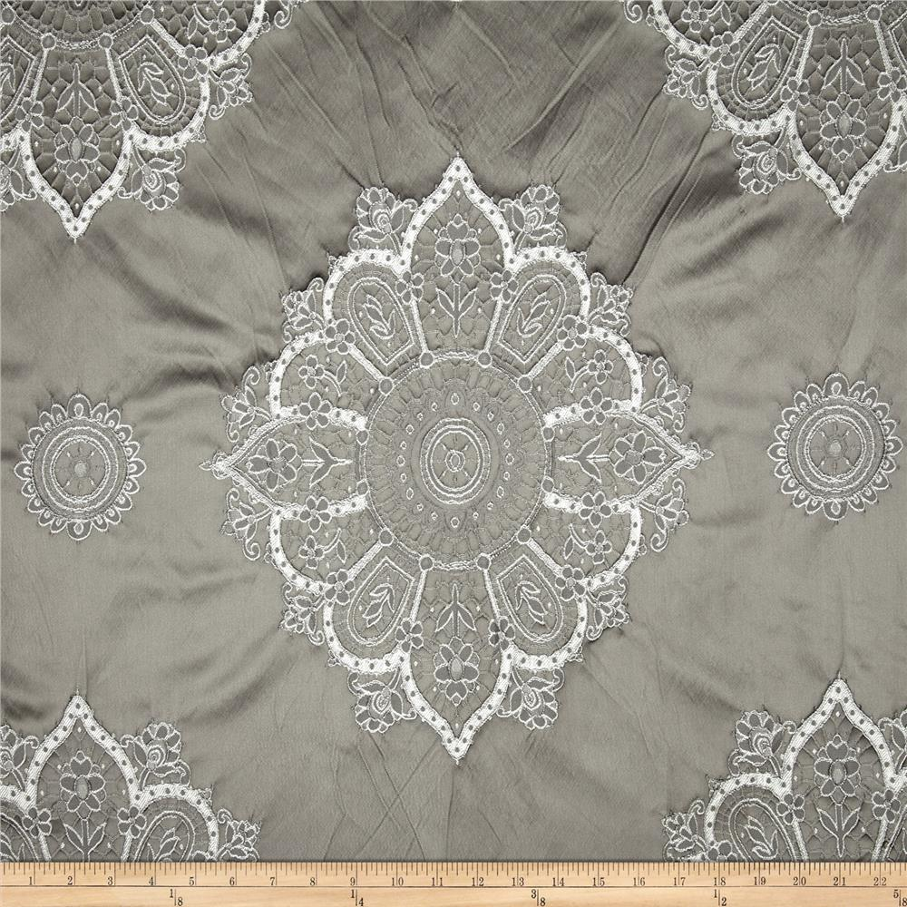 Laurier Satin Medallion Dimensional Jacquard Grey