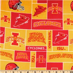 Collegiate Fleece Iowa State University Blocks Red/Orange Fabric
